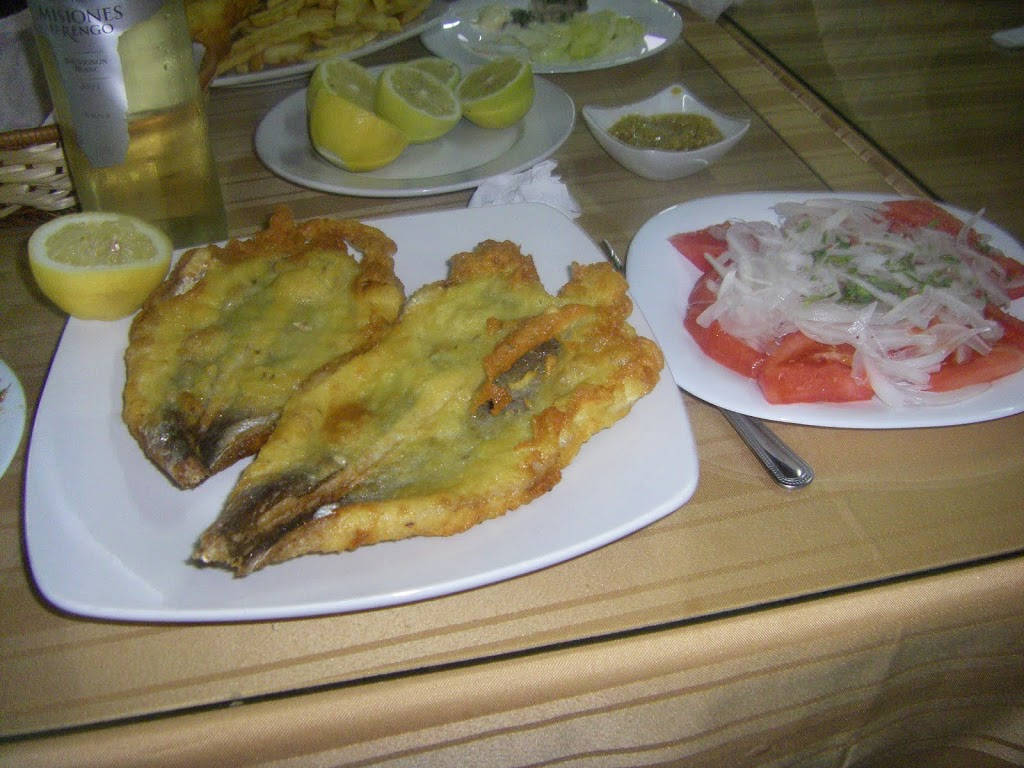 Fried merluza and Chilean salad at Las Rocas Photo: DJoslyn