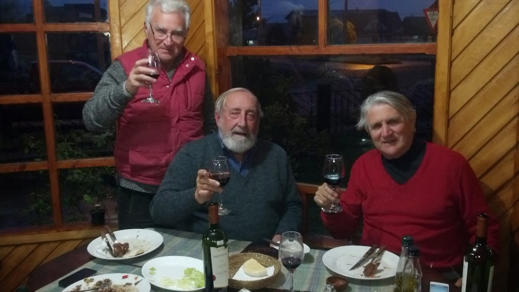 Joaquin, Dave and Claudio relaxing after a long Day 1 on the Carretera Austral
