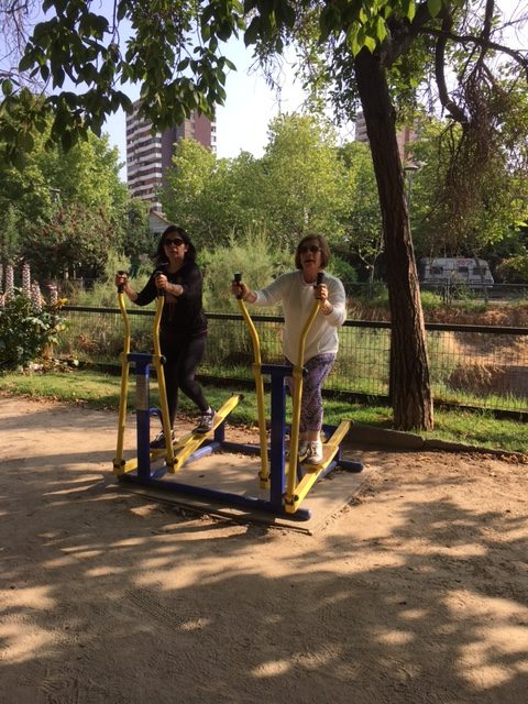 Exercise machines in park along Canal San Carlos