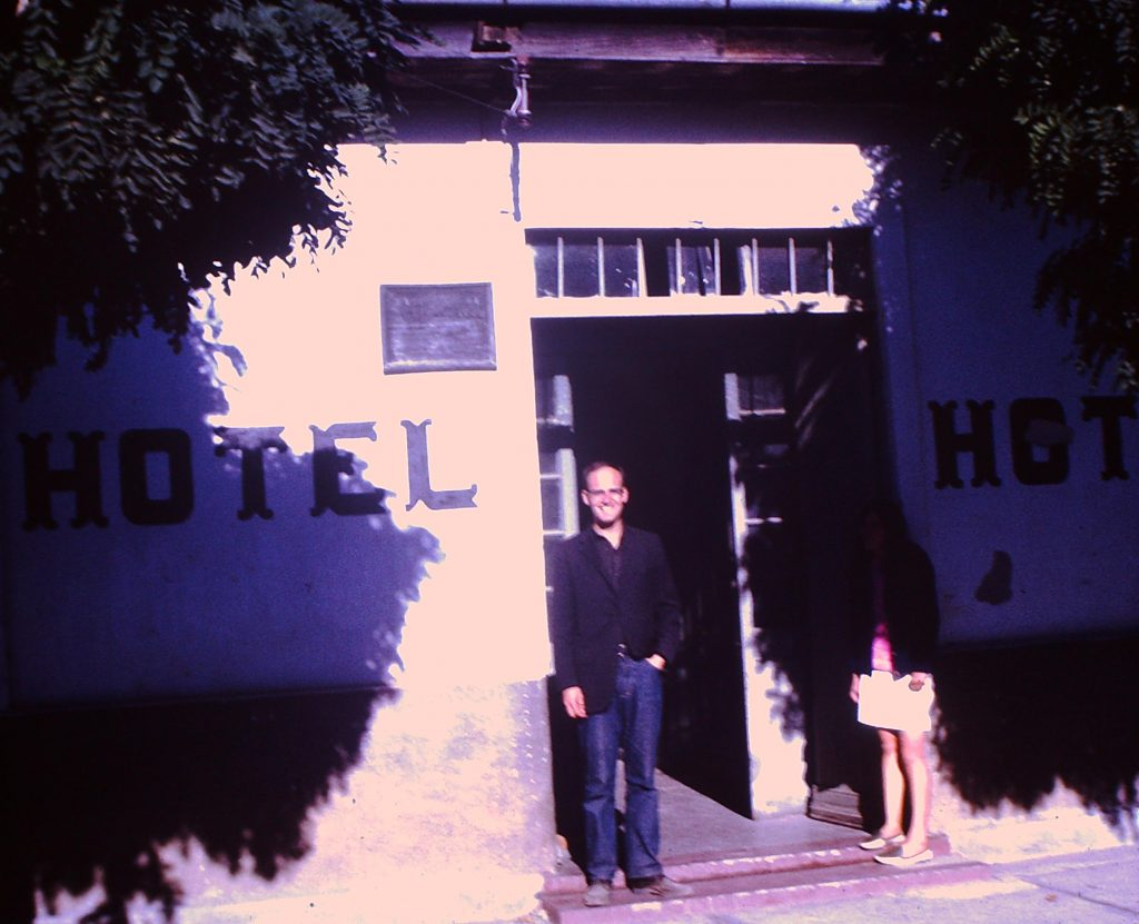 Al Howlett standing in front of his home for two years; the pension on the Yumbel Plaza